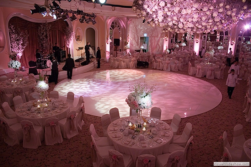 High Gloss White Round Dance Floor Rental at Beverly Hills Hotel
