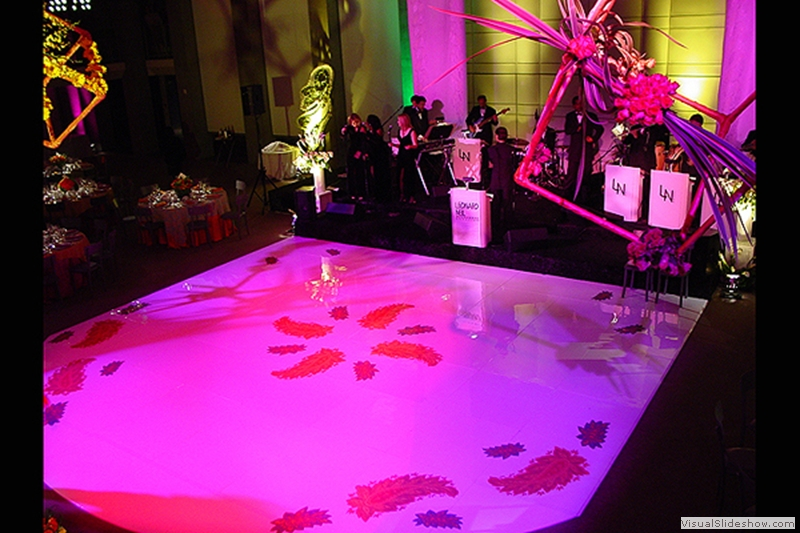 High Gloss White with Flower Graphics Dance Floor Rental
