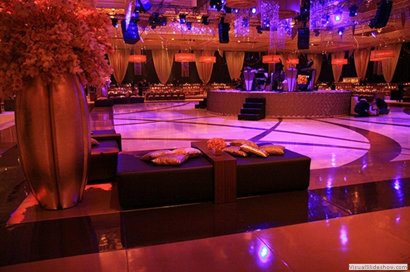 Ivory Center with Gold and Double Border Dance Floor Rental