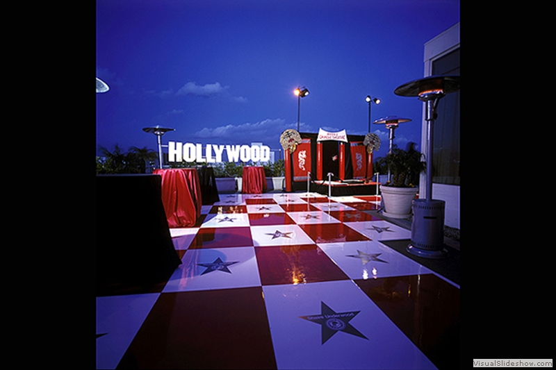 Red and White Hollywood Dance Floor Rental