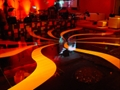 Black High Gloss with Swirl Graphics Dance Floor Rental